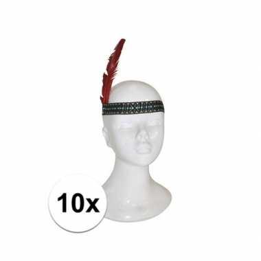 10x voordelige indianen hoofdband met veer