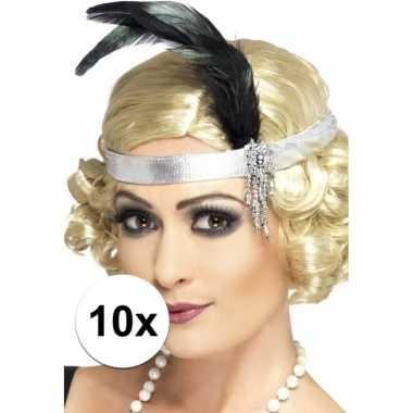 10x zilveren hoofdband satijn met veer