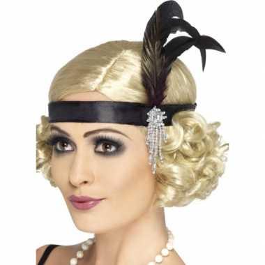 2x carnaval/feest zwarte verkleed hoofdband in flapper stijl voor dam