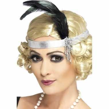 2x zilveren hoofdband satijn met veer