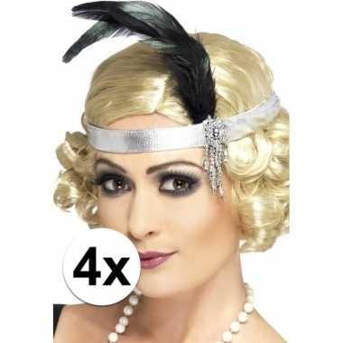 4x zilveren hoofdband satijn met veer