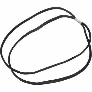 5x dubbel zwart elastieken sport hoofdband/haarband