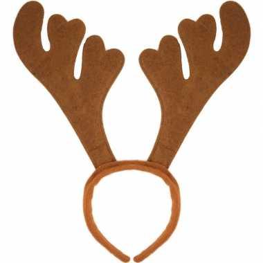 6x kerst feest/party gewei bruine hoofdband voor volwassenen