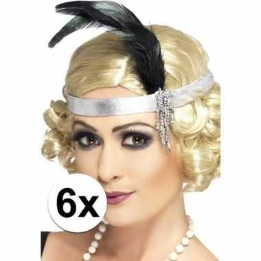 6x zilveren hoofdband satijn met veer