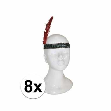 8x voordelige indianen hoofdband met veer