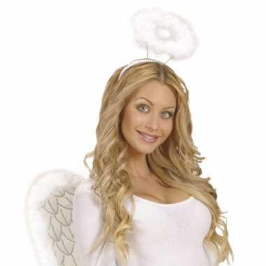 8x witte veren engelen hoofdbanden