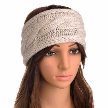 Beige gebreide winter hoofdband met kabelpatroon voor dames