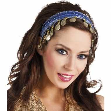 Carnaval esmeralda buikdanseres hoofdband kobalt blauw voor dames