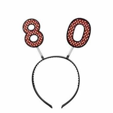 Feestartikel 80 jaar geworden hoofdband/diadeem