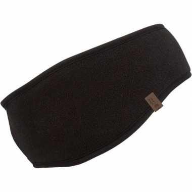 Fleece hoofdband zwart voor dames/heren