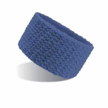 Gebreide hoofdband blauw voor dames