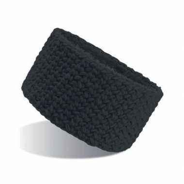 Gebreide hoofdband zwart voor dames