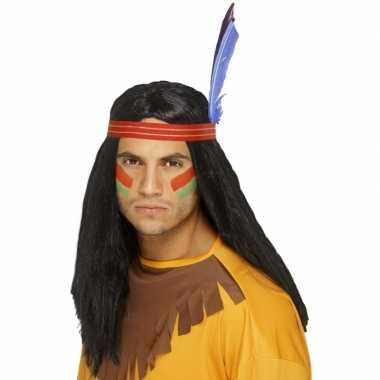 Indianen pruik met hoofdband+veren