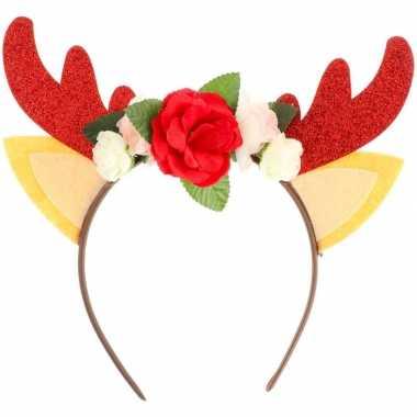Kerst feest/party gewei met bloemetjes hoofdband voor volwassenen