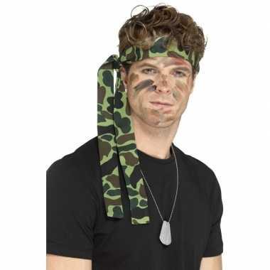 Leger verkleedsetje dogtags ketting en hoofdbandje