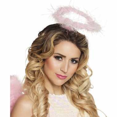 Roze veren engelen hoofdband