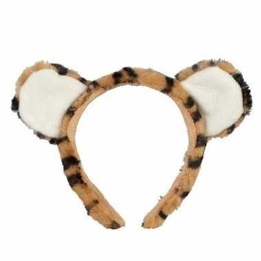 Tijger hoofdbanden pluche met oortjes 15 cm