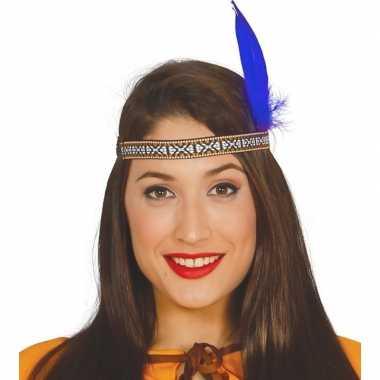 Toppers - indianen verkleed hoofdband met blauwe veer voor volwassene
