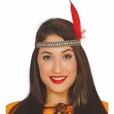 Toppers - indianen verkleed hoofdband met rode veer voor volwassenen