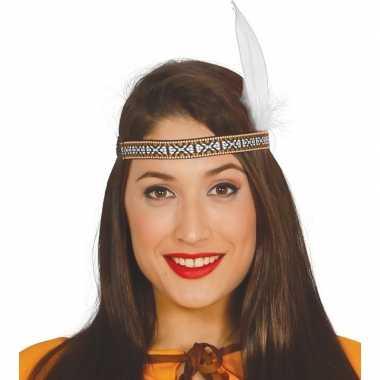 Toppers - indianen verkleed hoofdband met witte veer voor volwassenen