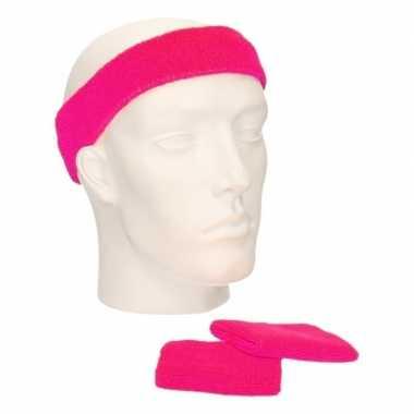 Voordeelset hoofdband en polsbandjes fuchsia