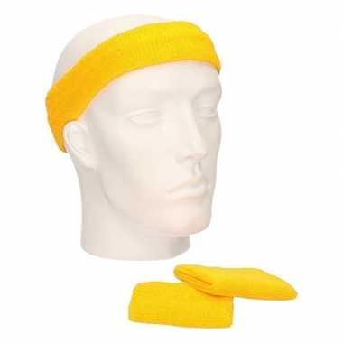 Voordeelset hoofdband en polsbandjes geel