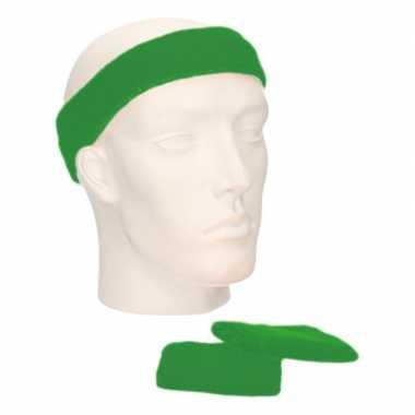 Voordeelset hoofdband en polsbandjes groen