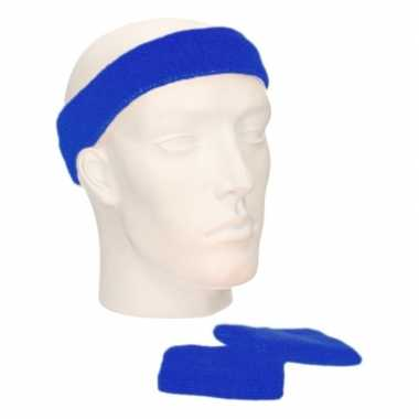 Voordeelset hoofdband en polsbandjes kobalt