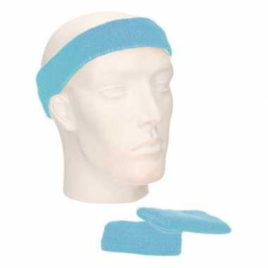Voordeelset hoofdband en polsbandjes licht blauw