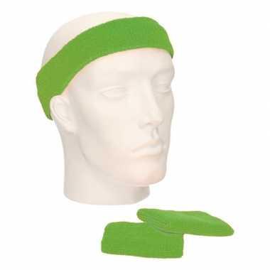 Voordeelset hoofdband en polsbandjes lime