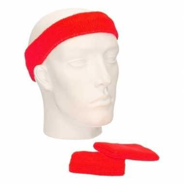 Voordeelset hoofdband en polsbandjes rood