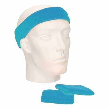 Voordeelset hoofdband en polsbandjes turquoise