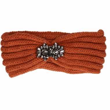 Warme winter hoofdband gebreid donker oranje voor dames