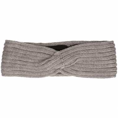 Warme winter hoofdband gebreid grijs voor dames