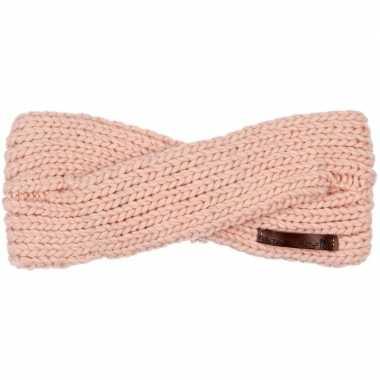Warme winter hoofdband gebreid licht roze voor dames