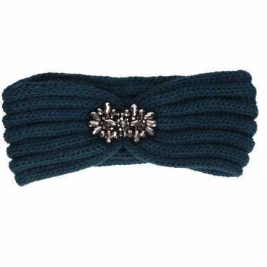 Warme winter hoofdband gebreid petrol blauw voor dames
