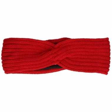Warme winter hoofdband gebreid rood voor dames
