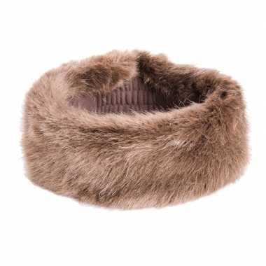 Warme winter hoofdband van namaakbont bruin voor dames