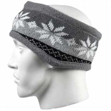 Wintersport hoofdband grijze nordic print