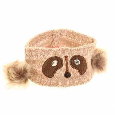 Wintersport hoofdband wasbeer voor dames