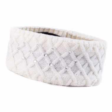 Witte winter hoofdband met strass steentjes en fleece voering voor dames