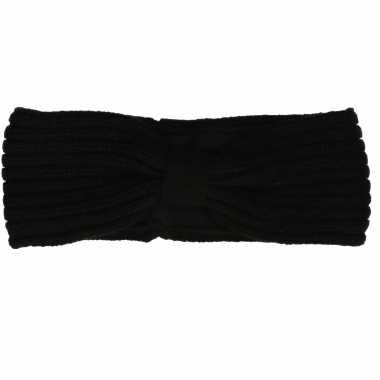 Zwarte gebreide winter hoofdband met strik voor dames