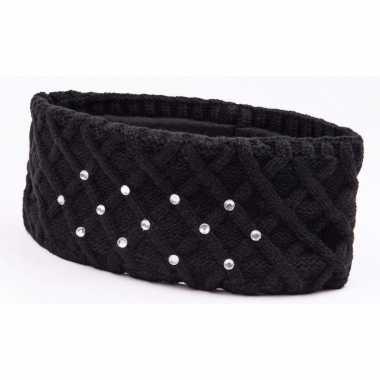 Zwarte winter hoofdband met strass steentjes en fleece voering voor dames