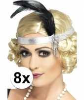 8x zilveren hoofdband satijn met veer