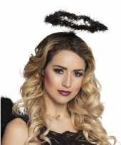 8x zwarte veren engelen hoofdbanden