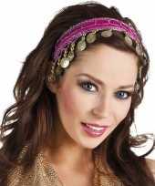 Carnaval esmeralda buikdanseres hoofdband fuchsia roze voor dames